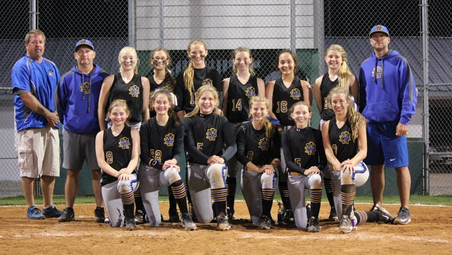 The Mountain Home Bandits under-14 softball team recently won the U14 Babe Ruth Qualifier at the Keller Complex in Mountain Home. The team qualified for the Babe Ruth World Series later this year in Florida. Members of the team are: (first row, from left) Tori Ross, Kate Gilbert, Addison Yates, Marcie Cudworth, Emily Payne, Reagan Hasselwander, (second row) coach Brad Hasselwander, coach Jimmy Yates, Gracie Uchtman, Josie Kelly, Lauren Loving, Madison Manes, Maleigha Morris, Bella Bevel and coach Shawn Loving.