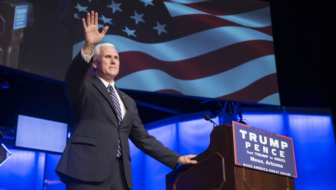 Republican vice-presidential nominee and Indiana Gov. Mike Pence holds a rally at Living Word Bible Church in Mesa on Sept. 22, 2016.