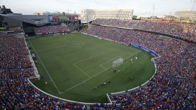 General view in the first half during the Lamar Hunt US Open Cup match between the Chicago Fire and FC Cincinnati on June 28, 2017 at Nippert Stadium.