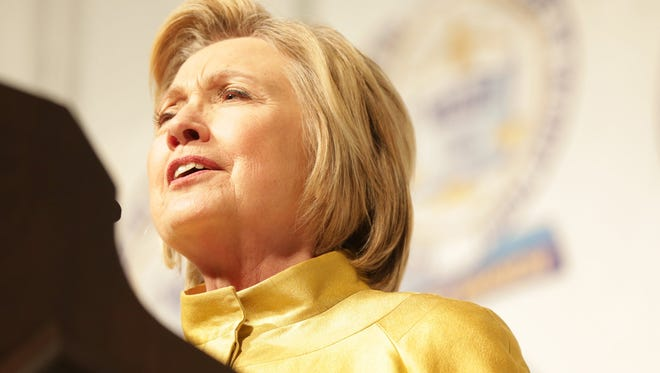 Democratic Presidential Candidate Hillary Clinton delivers the key not address during the 61st Annual Fight For Freedom Fund Dinner Sunday, May 1, 2016, at Cobo Conference Center in Detroit.
