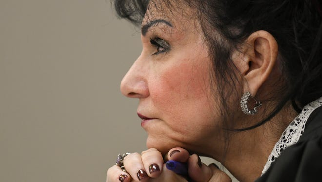 Circuit Judge Rosemarie Aquilina listens to victim testimony  Friday, Jan. 19, 2018, during the fourth day of victim impact statements regarding former sports medicine doctor Larry Nassar, who pled guilty to seven counts of sexual assault in Ingham County, and three in Eaton County.