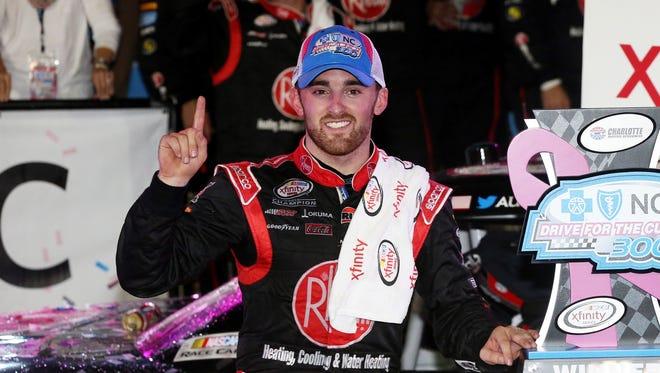 Austin Dillon celebrats his fourth Xfinity win of the season.