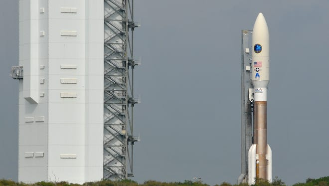 A ULA Atlas V rocket rolled out from the Vertical Integration Facility to Space Launch Complex 41 Monday morning in advance of a National Security Launch scheduled for Tuesday at 2:48 p.m., depending on weather.