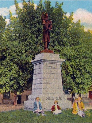 Firemen's Monument of the Rescue Fire Company on Penn Commons, York, PA (Section of circa 1910 Postcard from Collections of S. H. Smith)