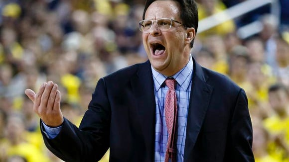 Mar 8, 2014; Ann Arbor, MI, USA; Indiana Hoosiers head coach Tom Crean reacts in the first half against the Michigan Wolverines at Crisler Arena. Mandatory Credit: Rick Osentoski-USA TODAY Sports