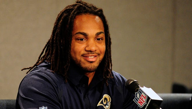 Tre Mason was introduced by the St. Louis Rams on Tuesday.