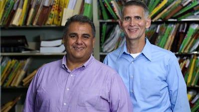 Greg Bourke, right, and Michael De Leon in 2013 photo.