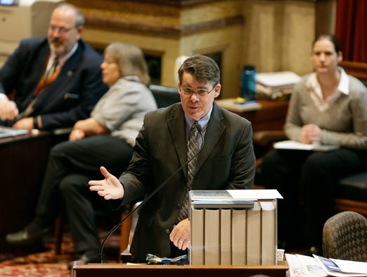 Iowa Senate Majority Leader Michael Gronstal speaks on the floor of the Iowa Senate, Friday, May 2, 2014, at the Statehouse in Des Moines. The Senate adjourned for the year on Friday, officially putting an end to the 2014 legislative session 10 days past the anticipated April 22 end date.