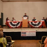 """Russ Diamond, incumbent for the 102nd district speaks at the Lebanon 9-12 Project hosted a """"Whistle Stop"""" forum for the candidates running for Pennsylvania's 101st and 102nd legislative districts. Candidates Pier Hess, Jeffery Griffith, Frank Ryan, Russ Diamond, Tom Houtz and Liz Judd representing John Dissinger spoke at the event."""