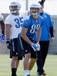 Detroit Lions tight end Cole Wick (89) practices in