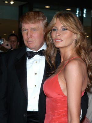 Donald and Melania Trump arrive at the celebration for Time magazine's annual '100 Most Influential People' issue in New York City.
