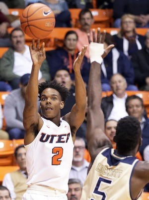 UTEP's Omega Harris, 2, takes a shot against Florida International during their January 12, 2017 game in the Don Haskins Center.