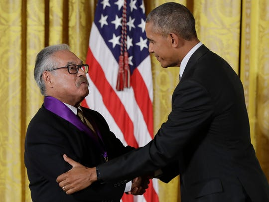 President Barack Obama awards playwright, actor, writer and director, Luis Valdez, the 2015 National Medal of Arts during a ceremony in the East Room of the White House, Thursday, Sept. 22, 2016, in Washington.