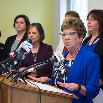 Broome County Executive Debra Preston speaks during