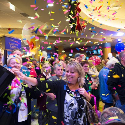 Confetti falls onto visitors as after Tioga Downs officially