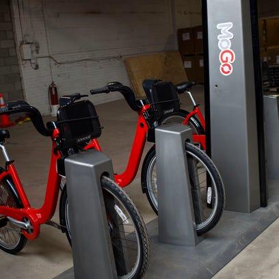 A future MoGo Detroit Bike Share station, seen on Tuesday,
