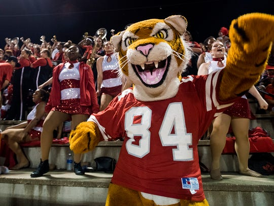 The Luverne Tiger mascot during the Brantley vs. Luverne