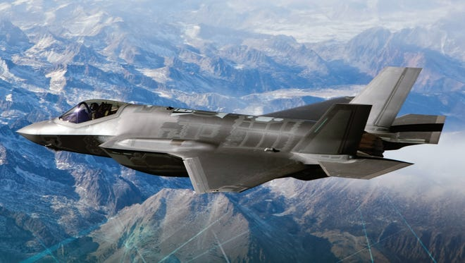 The F-35A, a jet capable of flying 1.6 times the speed of sound, is under production at Lockheed Martin.