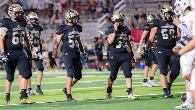 The Jaguars offensive line was dominating all night on Friday, Sept. 25. Andrew Mann (66), Dawson Howard, (56), Nate Peak, (55) and Drew Daniels (68) head to the line in Friday's win over Goddard
