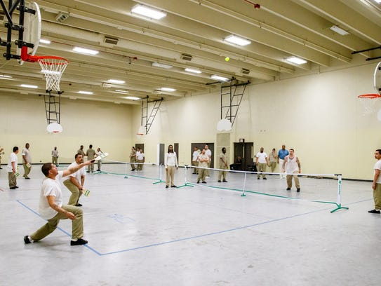 Inmates play pickleball at the Cook County Jail. Pickleball