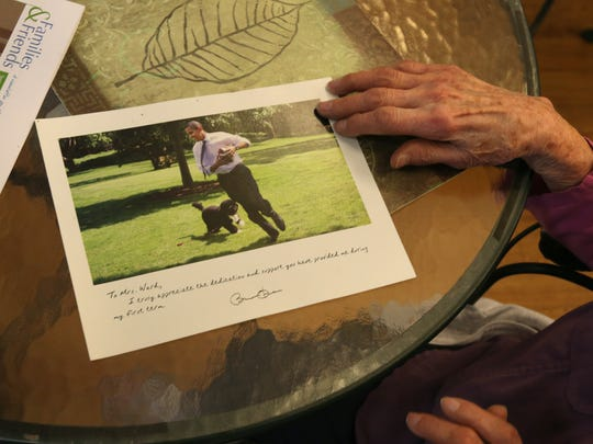 Margaret Ward, 96, shows off a picture she received from President Obama after doing field work for his campaign in 2012.