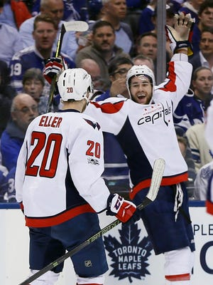 Washington Capitals forward Tom Wilson (right) scored twice in Wednesday's 5-4 win against the Toronto Maple Leafs. It was his first multi-goal game.
