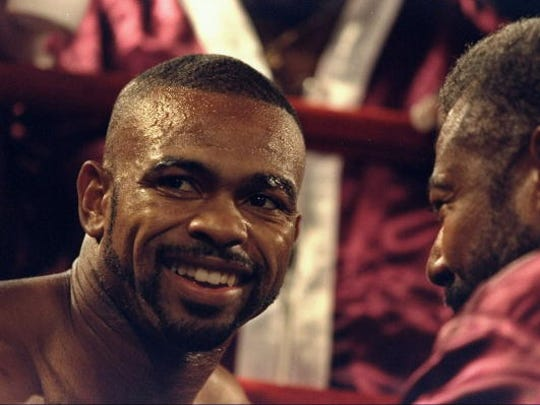 Roy Jones Jr., shown here in 1998, looks on during his bout against Louis Del Valle at Madison Square Garden in New York, New York.