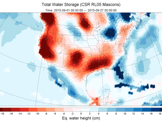 What a difference four months makes. The red in the graphic at left shows water deficits measured by NASA satellites on Sept. 1. The blue in the graphic at right shows surpluses by Jan. 4.