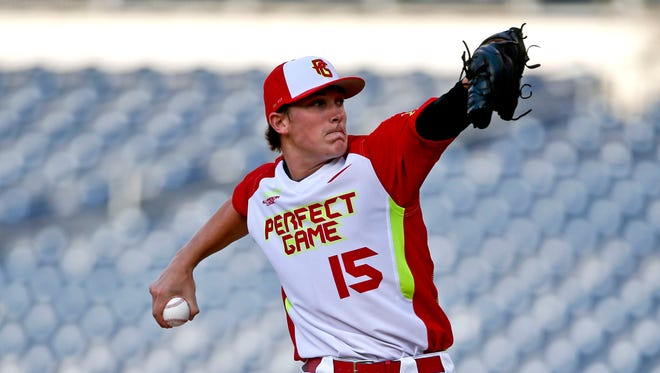 Beau Burrows, of Weatherford High School in Weatherford, Texas, during a high school all-star baseball game Sunday, Aug. 10, 2014, in San Diego.
