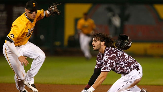 Missouri State's Spencer Johnson reacts after being thrown out at second base as Iowa second baseman Jake Manger comes up with the ball during the NCAA Division I Baseball Regional in Springfield, Mo. on Saturday, May 30, 2015.