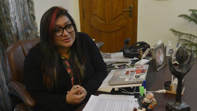 Pakistani lawyer and founder of the Digital Rights Foundation, Nighat Dad speaks during an interview in Lahore in this Dec. 17, 2016, file photo.