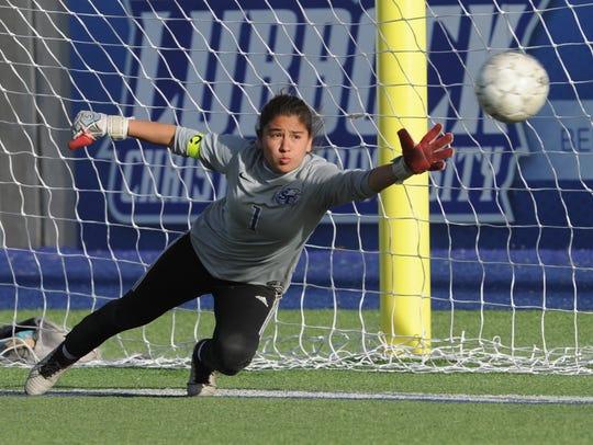 San Elizario goalie Heidi Lopez can't get to Blayre