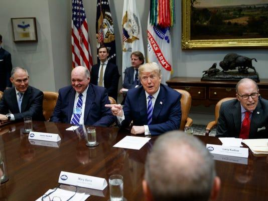 Donald Trump, Scott Pruitt, James Hackett, Larry Kudlow