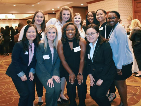 MSU students involved with the Undergraduate Women in Business campus organization participated in the Intercollegiate Business Convention last month in Boston hosted by Harvard University's student chapter. Pictured are, front from left to right, Feifei Zeng, Georgia Kate Conner, Jasmine Daniels and Vy Nguyen; and back left to right, Erin Groth, Shelby Baldwin, Katie Horn, Joyelle Lee, Shanice Skinner and Shani Hudson.