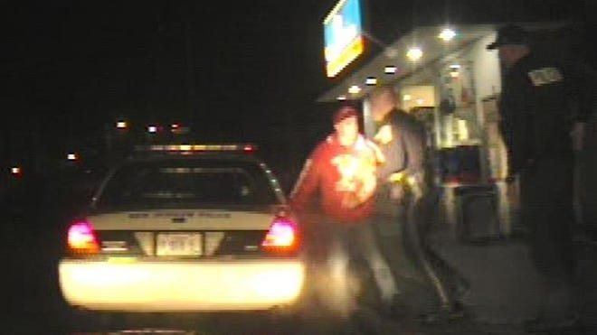 Still image from dashcam footage of Thomas Hurd's arrest in March 2014, in Farmington.