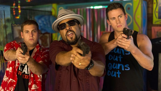 "This image released by Sony Pictures shows Jonah Hill, from left, Ice Cube, and Channing Tatum in Columbia Pictures' ""22 Jump Street."""