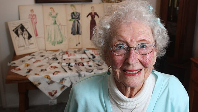 Lorene Carnes, 92, was going to art school seven decades ago when war broke out, forcing her to go to work. Her portfolio sat in the garage for 72 years until a family friend who works at Robert Kaufman Designs in L.A. saw it during a visit.  Photos by KOBBI R. BLAIR / Statesman Journal Lorene Carnes 92, was going to art school seven decades ago but had to quit because war broke out and she needed to work in the shipping yards. Her portfolio has sat in the garage since then, until just last year, when a family friend who works at Robert Kaufman Designs in L.A. saw it during a visit.  She took the designs back with her, where the designs were made into fabric that can be found in stores starting in June.