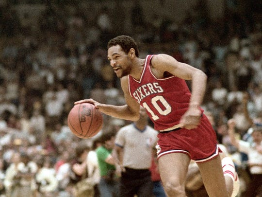 Maurice Cheeks during a 1983 game vs. Los Angeles. Copyright 1983 NBAE (Photo by Jim Cummins/NBAE via Getty Images)