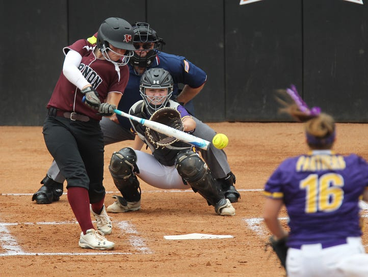 Vernon's Lauren Hager connects for a base hit against