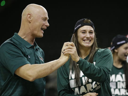 UWGB head coach Kevin Borseth and Mehryn Kraker congratulate