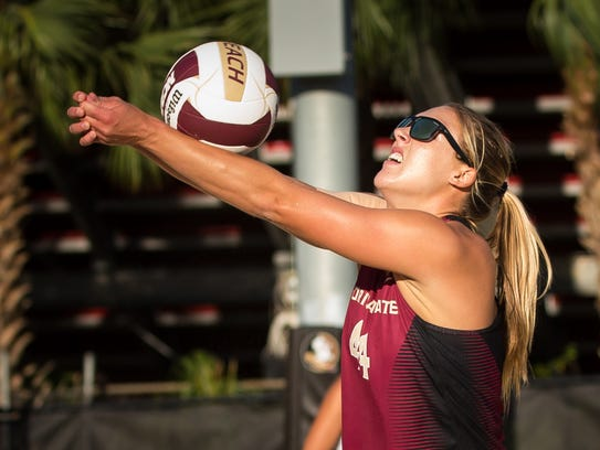 The Florida State beach volleyball team looks to extract