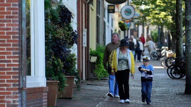Main Street on Nantucket in 2011. The Nantucket Board of Health issued an emergency order, which went into effect at 2 p.m. Monday, requiring people to wear face coverings at all times within the bounds of the Nantucket Old Historic District and the Siasconset Historic District.