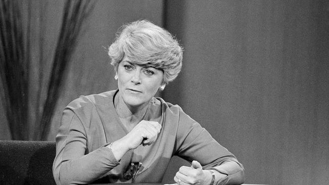 "Democratic vice-presidential nominee Geraldine Ferraro makes a point during a television appearance on ""The Donahue Show"" in Chicago, Ill., Tuesday, Oct. 30, 1984."