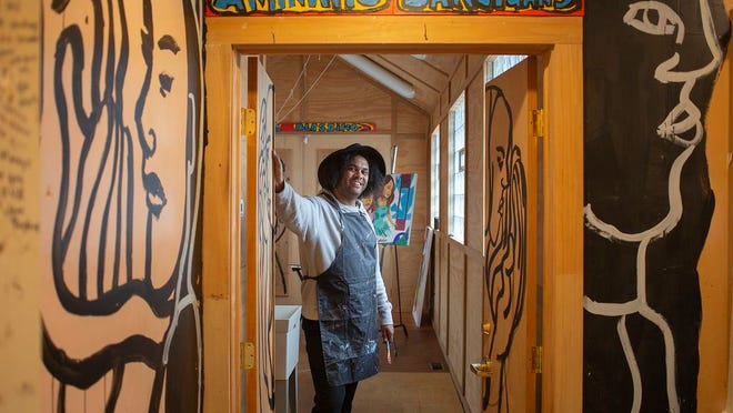 Bryan Christopher Moss photographed in the home of late artist Aminah Robinson