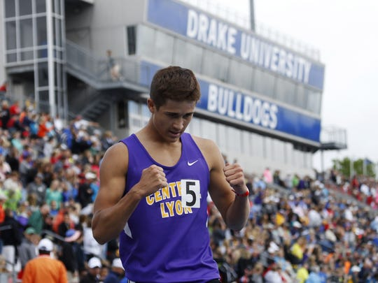 Central Lyon's Gable Sieperda celebrates his win and new state record in the boys 1A 3200 meter run Thursday, May 18, 2017, at the 2017 State Track and Field Championship at Drake Stadium in Des Moines.