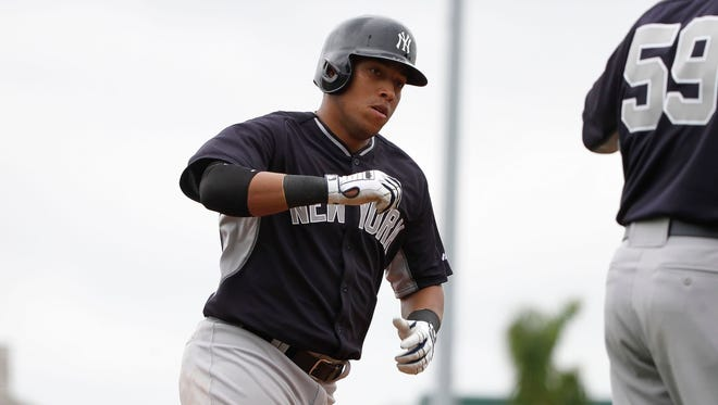 Yankees second baseman Yangervis Solarte hit .429 with a pair of home runs and nine RBI in 42 at-bats this spring.