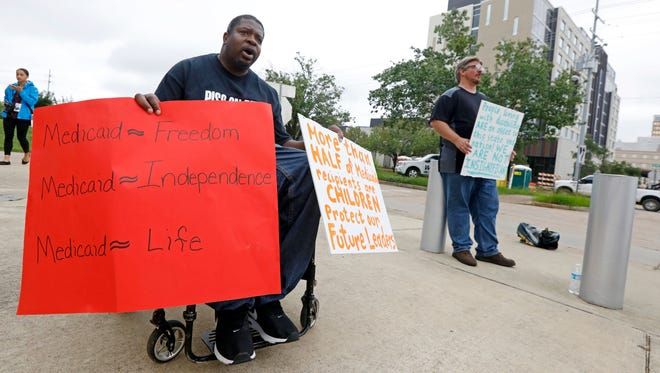 Medicaid supporter protesting in Jackson, Miss., on June 29, 2017.