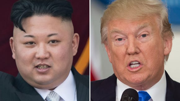 This combo of file photos shows an image, left, taken on April 15, 2017 of  North Korean leader Kim Jong-Un on a balcony of the Grand People's Study House following a military parade in Pyongyang; and an image, right, taken on July 19, 2017 of US President Donald Trump speaking during the first meeting of the Presidential Advisory Commission on Election Integrity in Washington, D.C.