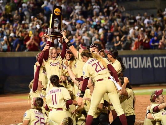 The Florida State Univeristy Softball Team celebrates