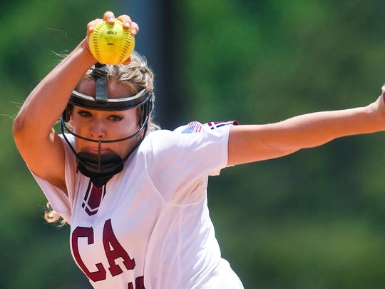 Alabama Christian's Lacey Spear pitches against Wilson